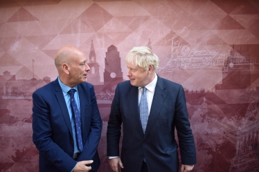 Conservative Parliamentary Candidate for Dewsbury, Mark Eastwood, talking to Prime Minister Boris Johnson